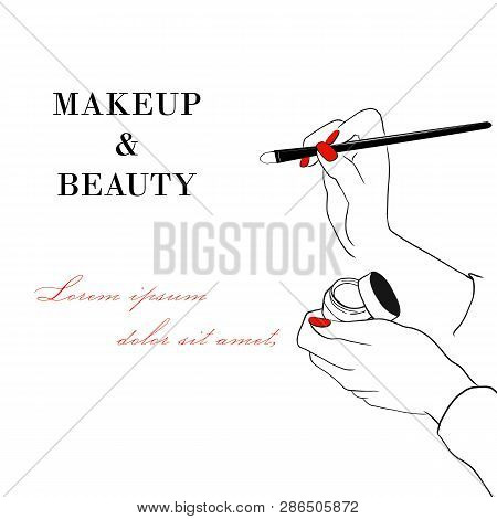 Makeup And Beauty Banner. Women's Hand With Makeup Concealer Cream Tube And Makeup Face Brush. Hand