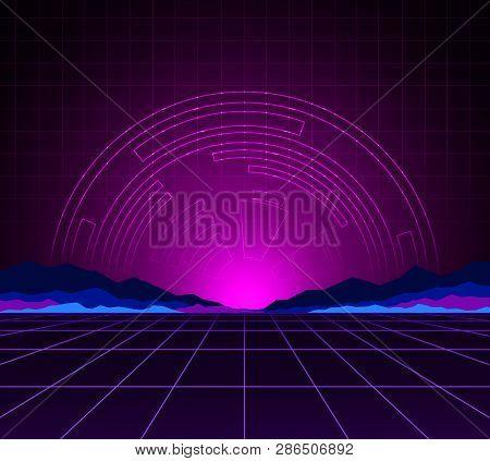 Glowing Neon Light. Background Template. Retro Video Games, Futuristic Design, Computer Graphics And