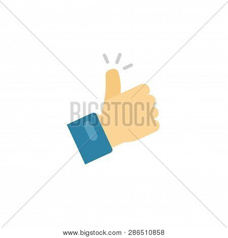 Thumb Up Icon Vector Symbol, Flat Cartoon Thumbs-up Or Like Sign With Hand Finger Isolated Clipart