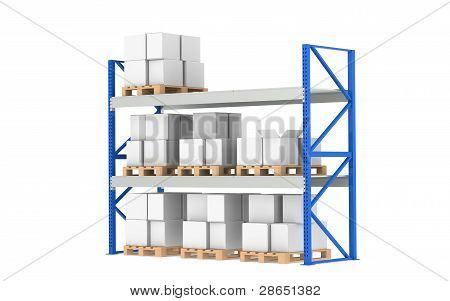 Warehouse Shelves. Medium Stock Level. Part of a Blue Warehouse and logistics series. poster
