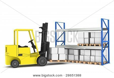 Forklift And Shelves. Forklift Loading Pallet Rack.part Of A Blue And Yellow Warehouse And Logistics
