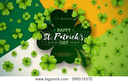 Happy Saint Patricks Day Design With Green Falling Clover On Abstract Background. Vector Irish Beer