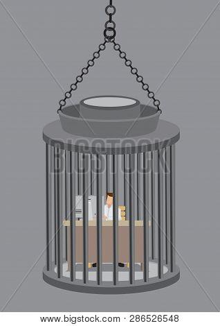 Employee Working At Desk Job Inside A Cage Like Prisoner In Jail. Creative Vector Business Illustrat