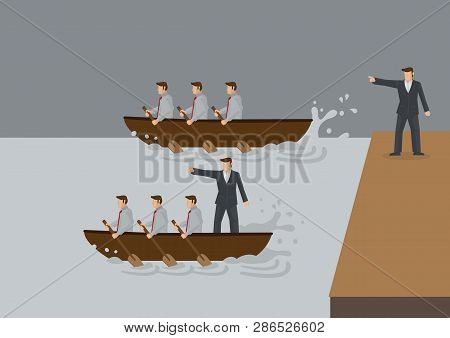 Two Teams Of People Rowing Boat In The Water, One With Leader Standing On Land And One With Leader I