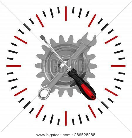 Repair Duration Icon. Gear With Screwdriver And Wrench As The Arrows Of Clock Isolated On White Back