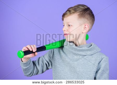 Boy Hold Baseball Bat. Sport And Hobby. Teenager Boy Likes Baseball. Active Leisure And Lifestyle. H