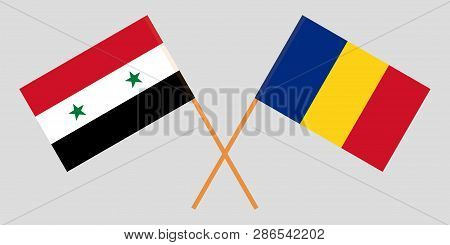 Romania And Syria. The Romanian And Syrian Flags. Official Proportion. Correct Colors. Vector Illust