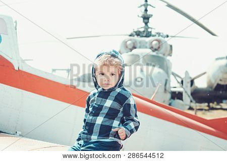 Its Time To Fly. Little Kid Have Summer Vacation. Cute Boy Child On Vacation Trip. Little Child At H