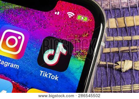 Helsinki, Finland,  February 17, 2019: Tik Tok Application Icon On Apple Iphone X Screen Close-up. T
