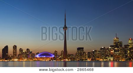 Panorama Of Toronto Skyline At Dusk