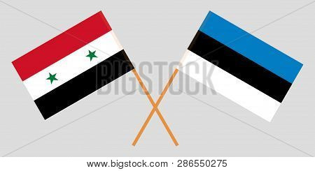 Estonia And Syria. The Estonian And Syrian Flags. Official Proportion. Correct Colors. Vector Illust