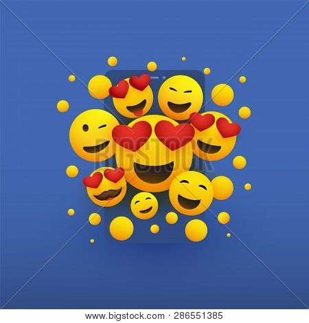 Various Smiling Happy Yellow Emoticons With Heart Shaped Eyes In Front Of A Smartphone Screen, Vecto
