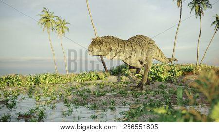 3d rendering of the hunting carnotaurus