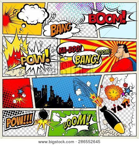 Comics Template. Vector Retro Comic Book Speech Bubbles Illustration. Mock-up Of Comic Book Page Wit