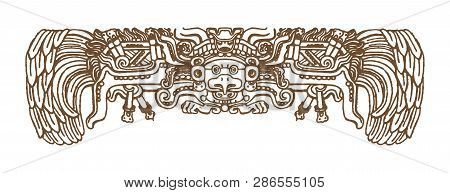 Vintage Graphic Maya Glyphs, Inca And Aztec Zodiac Ornaments And Symbols In Old American Indian Styl