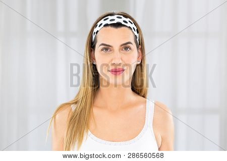Beautiful middle aged woman. Skin care