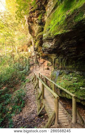 Hiking trail in Natural Bridge State Park in Kentucky