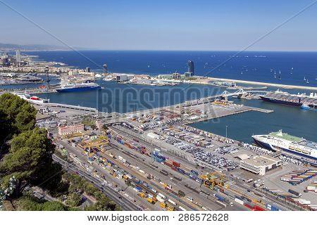 Spain, Barcelona, June, 27, 2015 - Port Vell At Barcelona From Montjuic Hill. Catalonia, Spain.