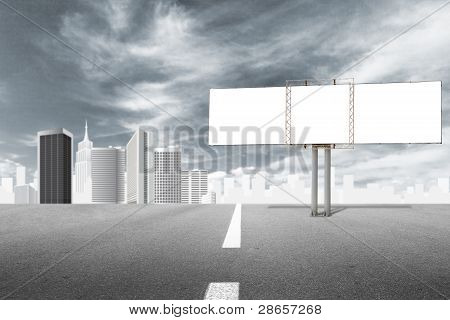 Billboard advertising panel and abstract cityscape behind low vibrance style poster