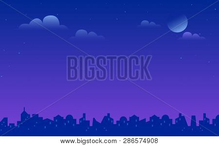 Night City Landscape Vector Gradient Illustration Of Bright Moon And Stars In The Purple Sky. Urban
