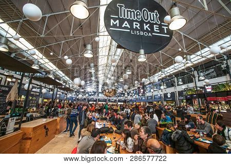 Lisbon, Portugal. January 4, 2019: Time Out Market Lisboa Is A Food Hall Located In The Mercado Da R