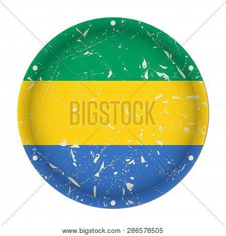 Gabon - Round Metallic Scratched Flag With Six Screw Holes In Front Of A White Background