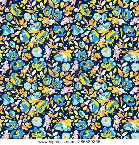 Vector Seamless Pattern With Blooming Abstract  Blue, Cerulean Flowers And Yellow Leaves On Navy Bac