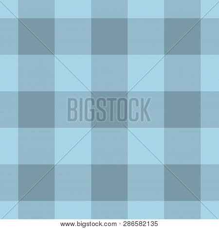Seamless Pattern, Tablecloth - Pastel Dark And Bright Blue Tartan