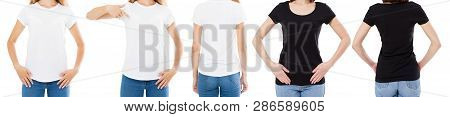 Woman In White And Black T Shirt Isolated Front And Rear Views Cropped Image Blank T-shirt Options,