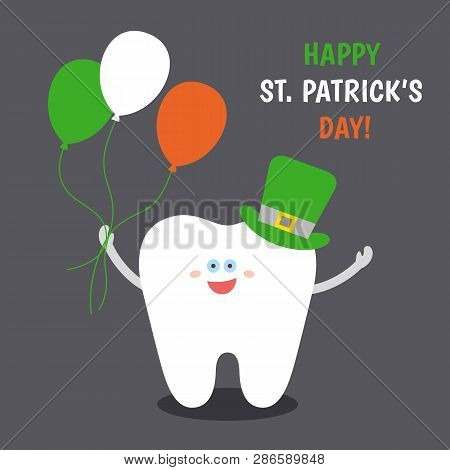 Smiling Cartoon Tooth In Saint Patrick's Green Hat With Balloons Colors Of The Irish Flag. Happy St.