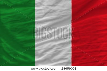 Complete Waved National Flag Of Italy For Background