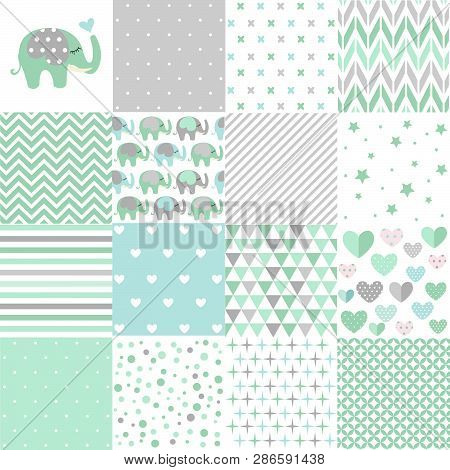 Set Of Baby Shower Patterns. Seamless Pattern Vector. Baby Elephant Vector Set. Graphic Design Eleme