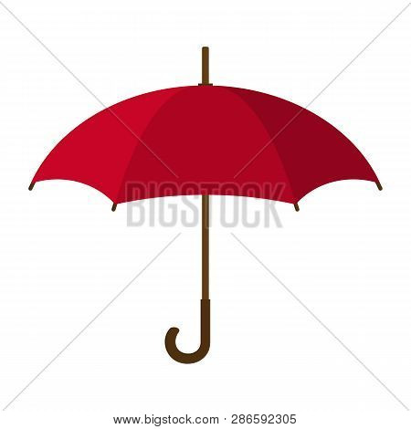 Red Umbrella Icon. Red Umbrella Isolated On White Background. Flat Style. Vector Illustration For Yo
