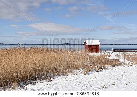 Traditional Fishing Cabin At Farjestaden On The Swedish Island Oland