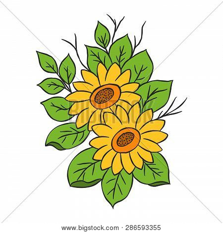 Graphical Sunflower Illustration. Black Flower, Contour Flower, Bloom Flower, Decorative Flower, Iso