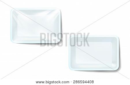 Mockup White Realistic Plastic Food Container Wrapped By Polyethylene And Without The Wrapper. Vecto