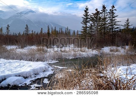 Winter Scene In Banff National Park At Vermillion Lakes, In The Canadian Rockies