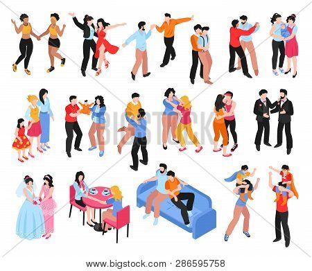 Isometric Set Of Icons With Homosexual Gay And Lesbian Couples And Families With Children Isolated O