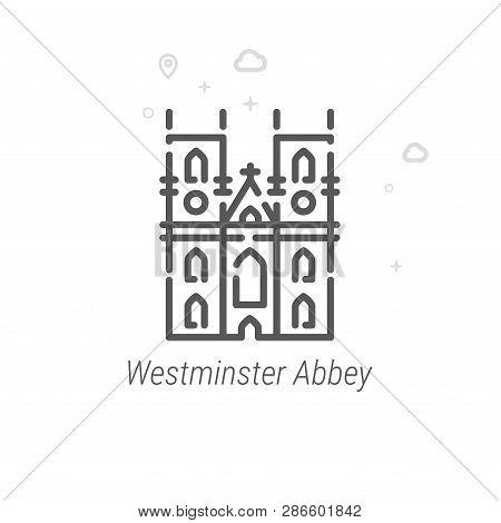 Westminster Abbey, London Vector Line Icon. Historical Landmarks Symbol, Pictogram, Sign. Light Abst
