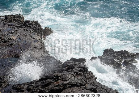 Halona Beach Cove With Famous Blowhole And Rocks