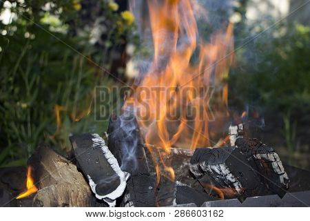 Outdoor Recreation - Burning Firewood In Fire Flame In Brazier.
