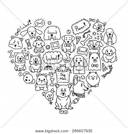 Vector Image Of Love Dogs With Different Doodle Dogs In Heart Shape. Cute Doodle Illustration Of Cur