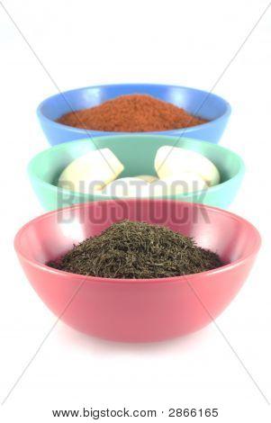Herbs, Garlic And Chili Powder.