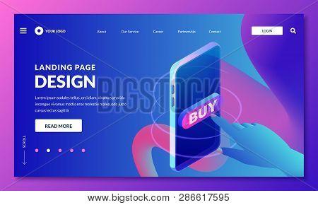 Landing Page, Web Banner Design Layout. Human Finger Press Buy Button, Vector 3d Isometric Illustrat