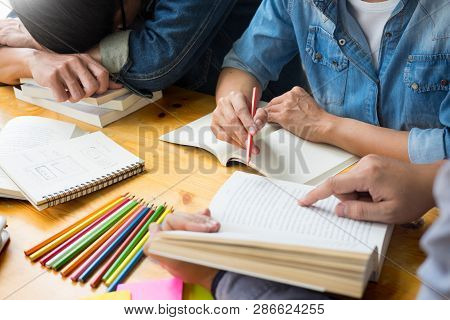 Students Learning In Study Teens Young Education Studying And Brainstorming Discussing Their Subject