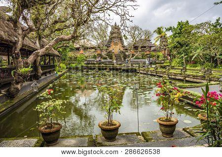 Pura Taman Saraswati Temple. Ubud, Bali, Indonesia. The Pura Taman Saraswati Is A Beautiful Water Te