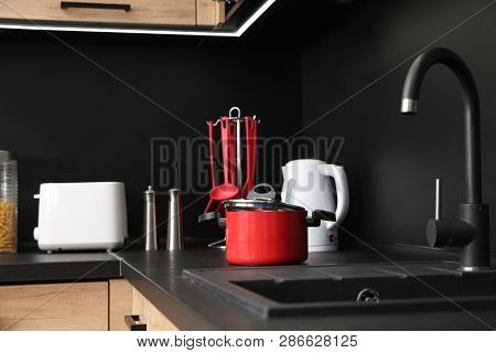 Stylish Kitchen Counter With Houseware And Appliances
