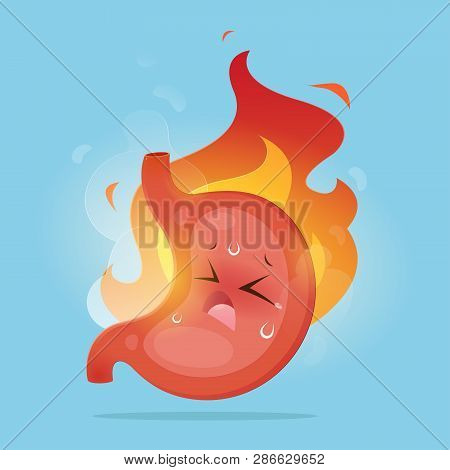 Illustration From Acid Reflux Or Heartburn And Gastritis On The Blue Background, The Concept With In