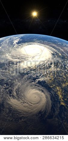 Hurricane Approaching The American Continent Visible Above The Earth, A View From The Satellite. Ele