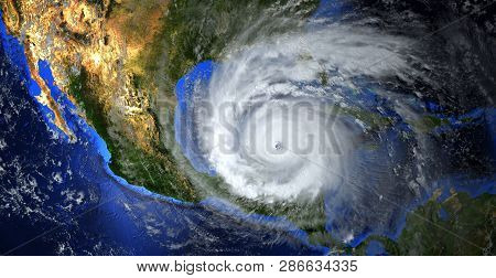 Hurricane Approaching The American Continent Visible Above The Earth,